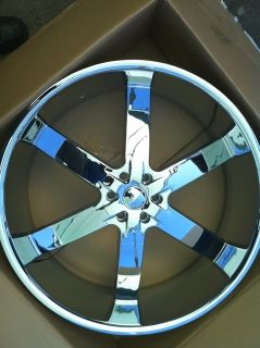24 U2 55 Chrome Rims 6x139 Tires GMC Chevy Titan New