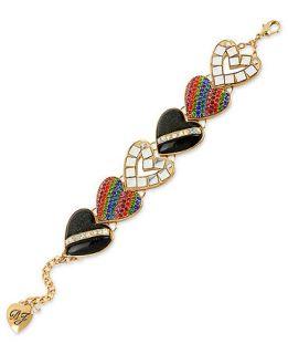 Betsey Johnson Bracelet, Gold Tone Glass Crystal Glitter Multi Heart
