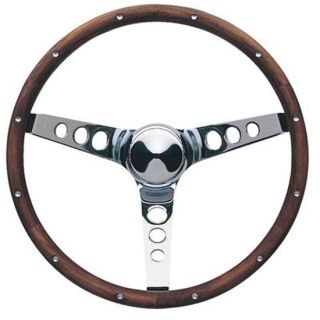 Classic Polished Wood Rimmed 3 Spoke Steering Wheel 4 1 8 Dish
