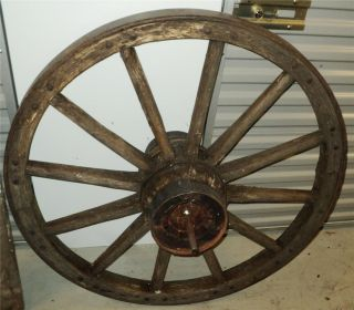 Vintage Unique Large Primitive Wood Steel Farm Wagon Wheel