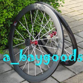 Full Carbon 3K Matt Road Bike Clincher Rim Wheelset 50mm White Spokes