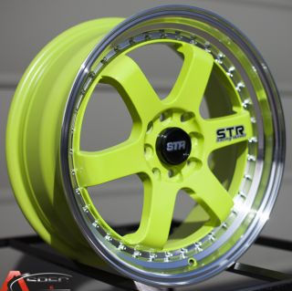 17x7 Str 510 4x100 Green Wheel Fit JDM Civic Integra EG EK DC2 Em Mini