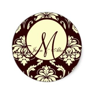 Brown Damask Wedding Monogram Ivory Envelope Seal Stickers