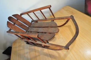 Vintage Wooden Sled Folding Wheels Childrens Antique Wood Sleigh