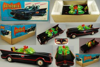 Batman 1972 Batmobile Boxed Battery Operated Aoshin ASC Black 1966