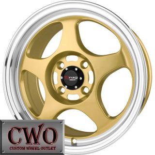 15 Gold Drag Dr 23 Wheels Rims 4x100 4 Lug Civic Mini Miata G5 Cobalt