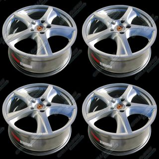 Porsche Hyper Silver Wheels 20x9 0 Rims with Central Logo Cap 4pc New