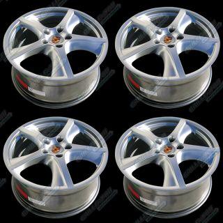 Porsche Hyper Silver Wheels 20x9 0 Rims with Central Logo Cap 4pc New