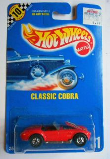 HOT WHEELS BLUE CARD #31 CLASSIC COBRA RED W/ BWS 10 POINT SPEED CARD