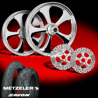 Nitro Chrome 21 Wheels Tires Dual Rotors for 2009 13 Harley Touring