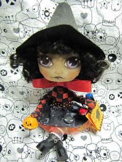 OOAK Primitive Folk Art Halloween Witch Doll Muffin EHD