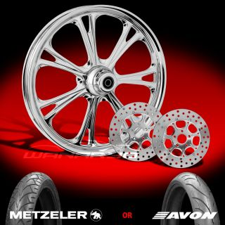 Epic Chrome 21 Front Wheel, Tire & Dual Rotors for 2000 13 Harley