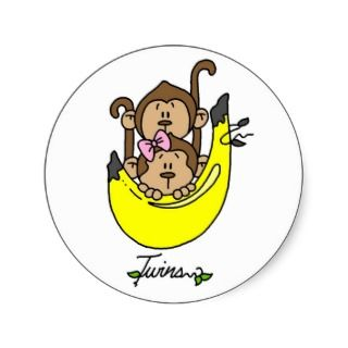 Monkey Twin Boy and Girl Tshirts and Gifts Round Sticker