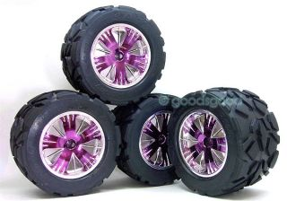 This Auctions Has 4 Pcs Wheels + Tires Fits E T maxx Savage Monster GT