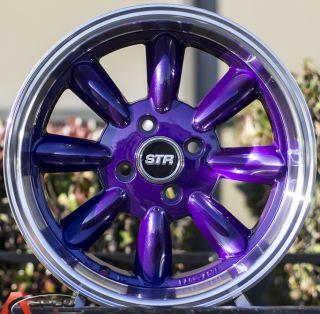 15x7 5 Str 503 4x100 Puprple Wheel Fit Honda CRX Del Sol Fit Civic SI