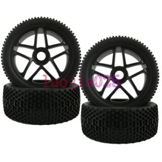4pcs RC 1 8 Off Road Car Buggy Foam Rubber Tyre Tires Wheel Rim Black