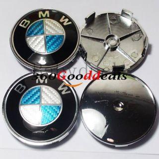 7x Blue BMW Carbon Fiber Hood Trunk Cap Emblem E90 E60 E71 E32 M3 M5