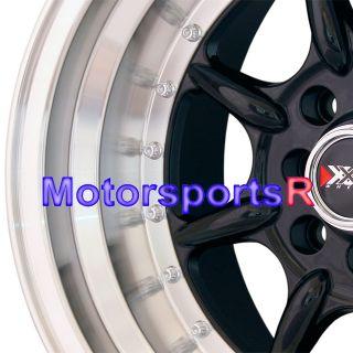 15 15x8 15x9 XXR 002 Black Staggered Rims Wheels 89 94 Nissan 240sx