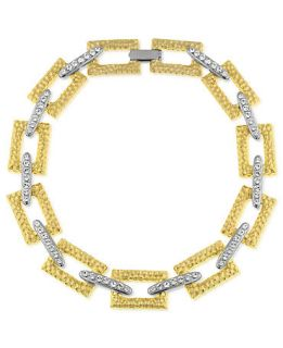 Laundry Necklace, Two Tone Crystal Link Collar Necklace   Fashion