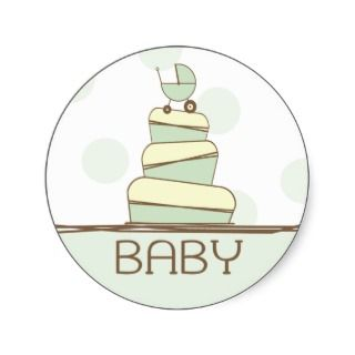 Green Baby Carriage Cake Sticker