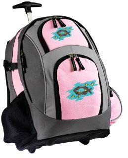 Chrisian Pink Rolling Backpack wih Wheels Wheeled School Bags Cue