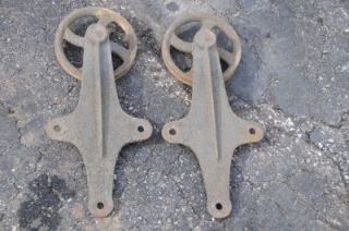 Antique Cast Iron Spoke Barn Door Rollers Track Vintage