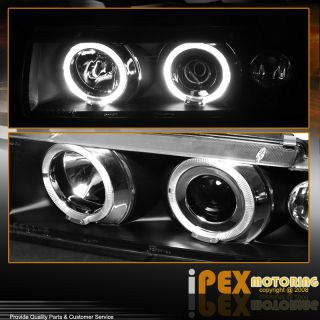 E36 2DR Smoke Fog Lights+Halo Projector Black Headlight+Grill 93 94 95