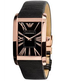 Emporio Armani Watch, Mens Black Leather Strap AR2034