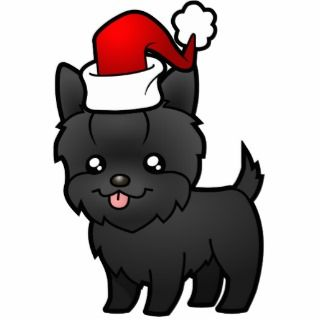 Christmas Yorkie (black short hair with bow) Photo Cut Out