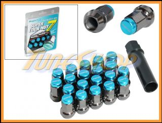 Super 7 Lock Lug Nuts 12x1 5 1 5 Teal Acorn Wheels Rims Close H