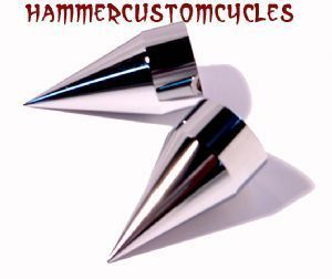 inch Axle Caps Chrome Impaler Spike Billet 2pc Motorcycles 3 in Tall