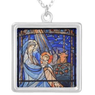 Stained Glass Style Nativity Personalized Necklace