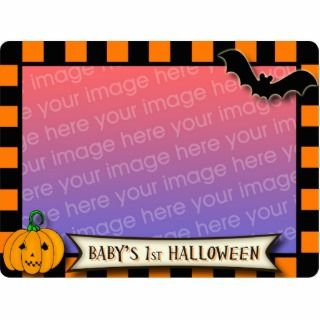 Babys 1st Halloween Black and Orange Photo frame Acrylic Cut Out
