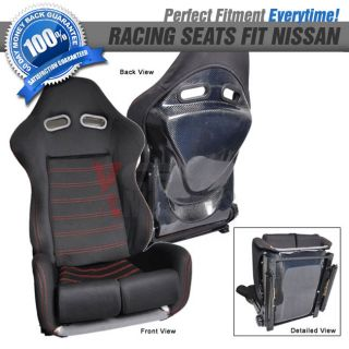 Pair of RS Cloth Black Red Stitch Real Carbon Racing Seat Fit Nissan