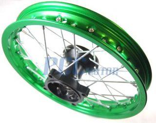 12 Front Green Alum Rim Wheel XR50 CRF50 110 125 12mm 9 RM06G