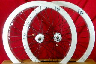 2012 Origin 8 Track Fixed Gear Wheelset White Fixie SS