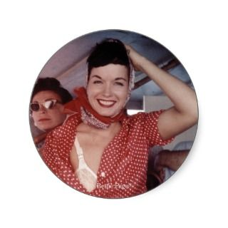 Bettie Page Wind Blown with a little Bra Showing Sticker