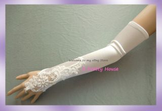 18 Fingerless Ivory Satin Wedding Proms Opera Gloves