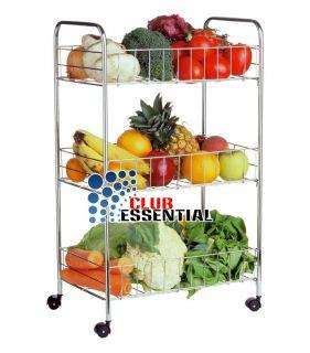 Metallic Vegetable Storage Trolley Stand Rack Shelf Wheels