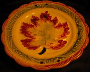 Vintage Japan Pottery Handpainted Ceramic Autumn Maple Leaf Plate