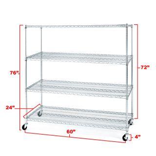 Seville Classics 4 Shelf Chrome Wire Shelving System w/ Wheels Storage