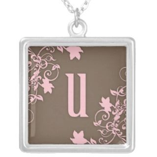 Pink & Brown Initial   U Personalized Necklace