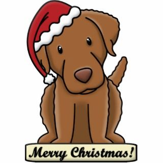 Cartoon Chesapeake Bay Retriever Christmas Photo Cut Outs