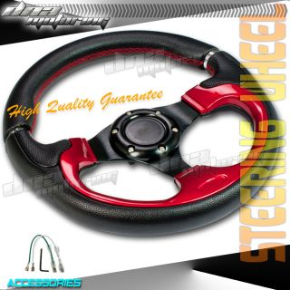 Black Red Silver Index PVC Leather 320mm Racing Steering Wheel Race