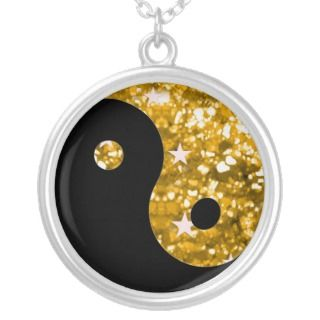 Yin yang gold sparkle necklace
