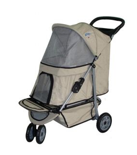 Sporty Beige Pet Dog Cat Stroller Carrier w Cup Holder