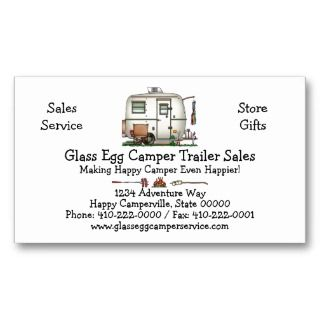Vintage Glass Egg Camper Travel Trailer Business Cards