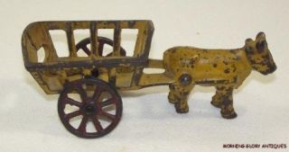 Antique Cast Iron Ox Cart