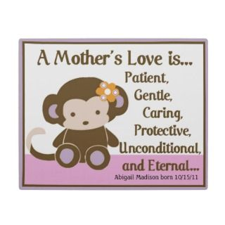 Girl Monkey Mothers Love Poem Plaque