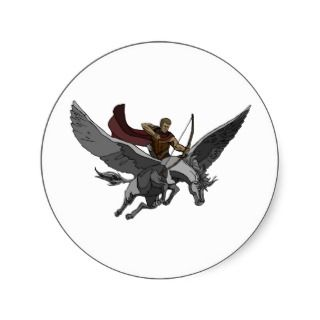 Flying Warrior Round Stickers